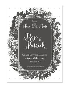 Lovely romantic wedding invitation inspired by Jane Austen.