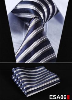 "Stripe Blue Silver Stripe 3.4"" 100%SilkTie Necktie Pocket Square Set"