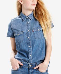 Levi's Larissa Western Cotton Denim Shirt - Blue S Cowgirl Shirts, Western Shirts, Levis Womens Shorts, Short Sleeve Denim Shirt, Chambray Top, Blue Tops, Clothes For Women, Cotton, Indigo