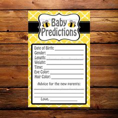 Mom to Bee Baby Predictions Card - Baby Shower Game - Bee Theme - Baby Sprinkle - Printable - Digital Download - Mommy to Bee - Bee Party - by RansburyDecor