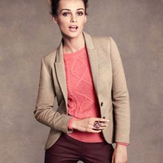 Taupe blazer and coral sweater