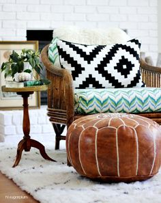Leather pouf Inspired by traditional Moroccan pouf, the plush Kasbah Shag pouf is handcrafted from the softest leather. It features a classic Morrocan trellis pattern. Luxe and soft underfoot, it's the ideal ottoman for a bedroom or living room.