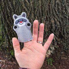 Raccoon - Woodland Set - Animal Felt Finger Puppet Yes ,Cute x 2
