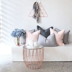 Now this is a match made in heaven! Eadie Pink and Grey Luca Cushions teamed with Copper. www.eadielifestyle.com.au