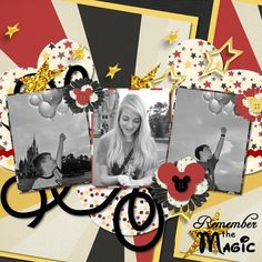 Disney scrapbook ideas - Bing Images black and white photos with bold background
