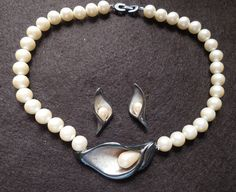 Calla lily necklace with pearl silver calla lily necklace set faux pearl cala…