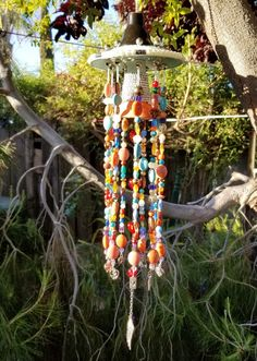 Garden Sun Catcher Heavily Beaded Wind Chime Charms Wedding Confetti, Sun Catcher, Red Glass, Flower Petals, Sparklers, Dried Flowers, Silver Beads, Cottage Style, Wind Chimes