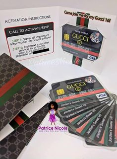 credit card packaging Updated listing to reflect c - Birthday Goals, 14th Birthday, Kids Birthday Party Invitations, Birthday Party Themes, Digital Invitations, Invitation Cards, Shower Invitations, Gucci, Sims 4