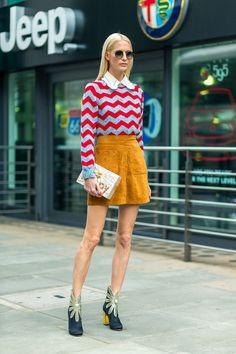 Poppy Delevigne in Zig Zags | Street Style #StreetStyle