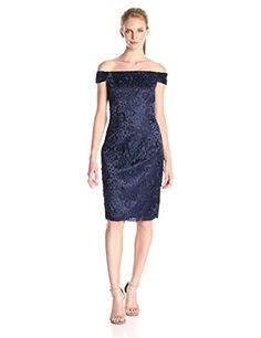 Adrianna-Papell-Womens-Off-the-Shoulder-Guipure-Dot-Lace-Dress