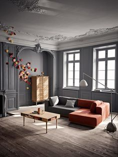 love the contrasting grey/white walls