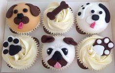 dog, footprint and bone creative cupcakes . Dog Cupcakes, Animal Cupcakes, Yummy Cupcakes, Cupcake Cookies, Cupcake Recipes, Dessert Recipes, Desserts, Fondant Dog, Small Cake