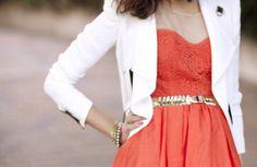 White blazer over spring dress  #pindr