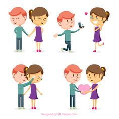 Pack of loving couple Free Vector