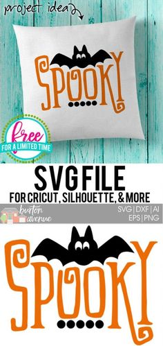 Free SVG Cut File - Spooky w/Bat - Real Time - Diet, Exercise, Fitness, Finance You for Healthy articles ideas Halloween Projects, Diy Halloween, Halloween Phrases, Halloween Fonts, Halloween 2019, Holidays Halloween, Vintage Halloween, Vinyl Crafts, Vinyl Projects