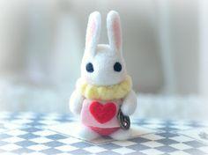 Handmade Alice in Wonderland white rabbit doll, needle felt bunny doll, kids toy, gift under 25 from NozomiCrafts on Etsy. Needle Felted Animals, Felt Animals, Wet Felting, Needle Felting, White Rabbit Alice In Wonderland, Rabbit Accessories, Felt Doll Patterns, Felt Bunny, Felt Toys