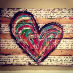 Pallet art- I could let kiddos help with painting heart. and I could do the writing of 1 Corinthians LOVE passage! I'm thinking yes! by Maria Malding Pallet Crafts, Pallet Projects, Wood Crafts, Art Projects, Diy Crafts, Pallet Ideas, Pallet Painting, Pallet Art, Diy Pallet