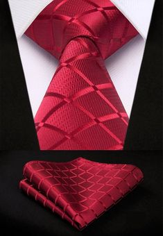Ruby Red Crosshatch XL Silk Men's Tie and Pocket Square Set Suit With Red Tie, Suit And Tie, Tie And Pocket Square, Pocket Squares, Mens Silk Ties, Men Ties, Kids Ties, Thing 1, Mens Fashion Suits