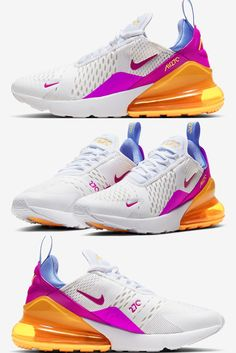 With Easter around the corner, Nike likely already has many commemorative colorways in the works, with the Air Max 270 introducing just one of the upcoming. Dressed simply — much like that of its early GRs — the pair constructs with a base of white mesh, laying a colorless foundation on which the bolder, more colorful accents can stand out. Even the laces and the majority of the tooling are understated, though they're disrupted at the two miniature swooshes thanks to their purple dyes. Purple Dye, Air Max 270, New Trends, Nike Air Max, Air Jordans, Two By Two, Foundation, Miniature, Corner