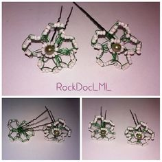 White and Green Wire Crochet U-pin Hair Accessory by RockDocLML on Etsy https://www.etsy.com/listing/240589673/white-and-green-wire-crochet-u-pin-hair