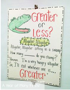 Greater Than/Less Than Song and Whole Group Activity our kids LOVE alligator! I taught kinders this concept and they picked it up in NO time :) MATH grade 2nd Grade Classroom, Math Classroom, Kindergarten Math, Classroom Ideas, Preschool, Classroom Inspiration, Future Classroom, Math Resources, Math Activities