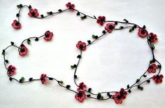 Crochet Necklace Cherry Blossom Burgundy Pink Flowers by ReddApple - Necklaces Jewelry Boho Flowers, Crochet Flowers, Pink Flowers, Burgundy Flowers, Crochet Beaded Necklace, Beaded Necklaces, How To Wrap Flowers, Flower Wrap, Unique Gifts For Women