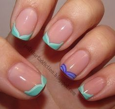 Little mermaid nails! Nothing to do with a little mermaid wedding. Just cute nails! Little Mermaid Nails, Little Mermaid Wedding, The Little Mermaid, Sparkly French Manicure, French Tip Nails, French Tips, French Manicures, French Manicure With A Twist, Gel Manicures