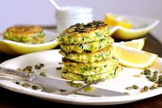 Zucchini pancakes with Icelandic Skyr, pumpkin seeds and fresh dill