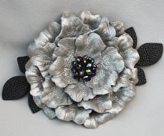Leather flower barrette platinum  peony black leaves wedding fascinator leather french barrette with crystal beads on Etsy, $52.00