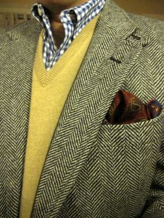 Tweed jacket with a Brooks Brothers shirt in navy gingham, a tan wool v-neck from the House of Tweed in Scotland, and a paisley pocket square. Tweed Vest, Tweed Run, Tweed Jackets, Tweed Suits, Ivy Style, Harris Tweed, Well Dressed Men, Preppy, Formal