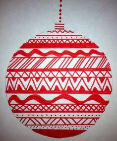 kerstbal; viltstift met liniaal.