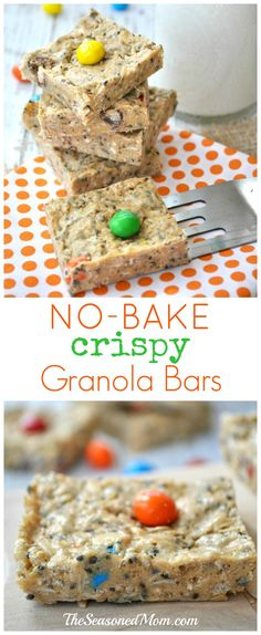 My family LOVES these Healthy No-Bake Crispy Granola Bars, which are loaded with protein, fiber, and whole grains. The peanut butter & chocolate treats are gluten-free and taste like dessert, yet they're healthy enough for breakfast or snack (and only has about 130 calories per serving)!