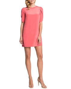 Tulip-Sleeve Sunday Dress, Coral Bloom by Cynthia Steffe at Neiman Marcus.