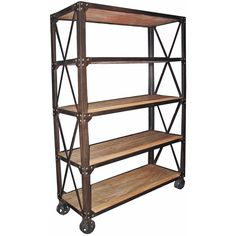Chorley Industrial Rustic Metal Wood Rolling Bookcase with Wheels ($2,670) ❤…