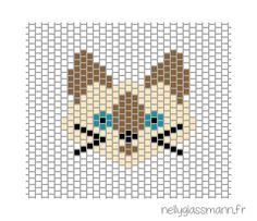Tissage brick stitch : diagramme chat siamois                                                                                                                                                                                 More
