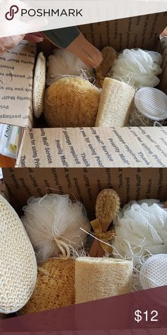 Bath Sponges. Body sponges. I am selling a box of bath sponges there are all types of scrub sponges and brushes. sponges Other