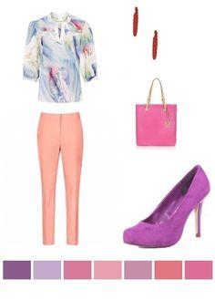 floral, pink, purple