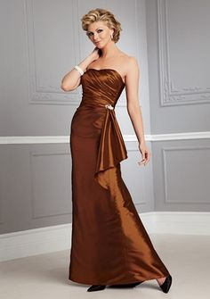 A-line Strapless Floor-length in Taffeta Mother of the Bride Dress. I really hope my daughter lets me wear burnt orange. Burnt orange is a much prettier color that maroon. I am so glad that my son in law is a UT grad.