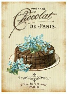 Vintage poster for a Paris Patisserie Vintage Printable, Vintage Labels, Vintage Ephemera, Vintage Postcards, Images Vintage, Vintage Pictures, Vintage Paris, Vintage Diy, Vintage Bakery