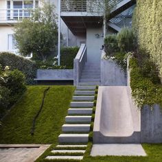 an alternative route - fun slide by outdoor steps