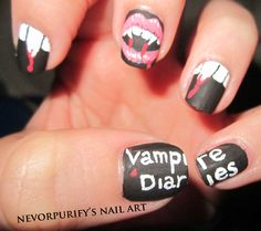 vampire diaries nail art #Halloween