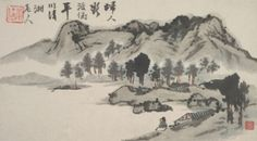 Landscapes in the Seasons by Shitao -- #3 in a set of 8 drawings