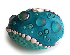 Mermaid's Pearl Egg - fimo covered blown egg