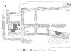 """Figure2: «La Mézeray»: plan général du bâtiment et nomenclature des murs identifiés (DAO S. Jean – INRAP).Figure2: General plan of the """"La Mézeray"""" building and nomenclature of its identified walls."""