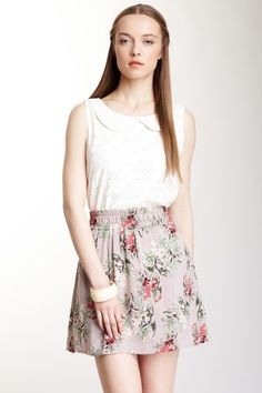 Tulle Embroidered Print Tank