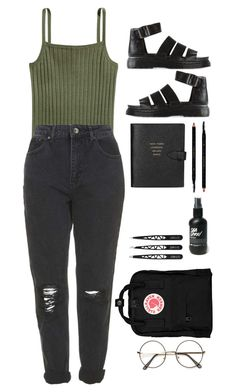 """""""basic"""" by jxnnarxse ❤ liked on Polyvore featuring Topshop, Dr. Martens, Smythson, Gucci and Fjällräven"""