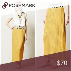 •Anthropologie• Dear Creatures Petula Maxi Skirt Adorable mustard color chiffon Maxi with a chevron waist. Worn once! So cute with a chambray shirt! Not 100% sure I want to sell, so pretty firm on price. Anthropologie Skirts Maxi