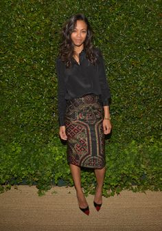 Zoe Saldana in Prabal Gurung...love the skirt