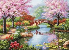 Dimensions Crafts Japanese Garden Counted Cross Stitch Kit *** Be sure… Japanese Embroidery, Embroidery Kits, Cross Stitch Embroidery, Embroidery Designs, Cross Stitch Designs, Cross Stitch Patterns, Dimensions Cross Stitch, Cross Stitch Landscape, Japanese Gardens