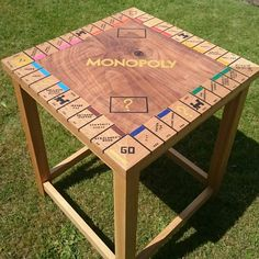 Bespoke monopoly table with personalised street names.